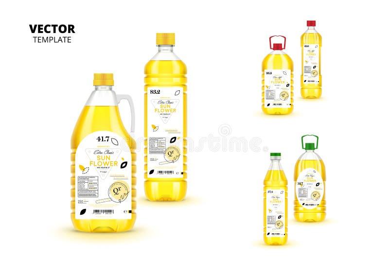 Garrafas virgens extra naturais do plástico do óleo de girassol ilustração stock