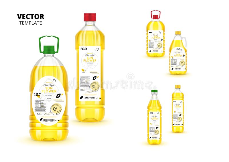 Garrafas virgens extra superiores do plástico do óleo de girassol ilustração stock