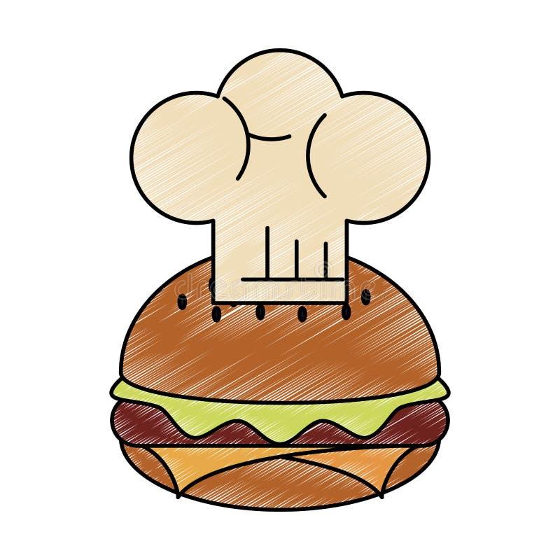 Garrancho do chapéu do Hamburger e do cozinheiro chefe ilustração royalty free