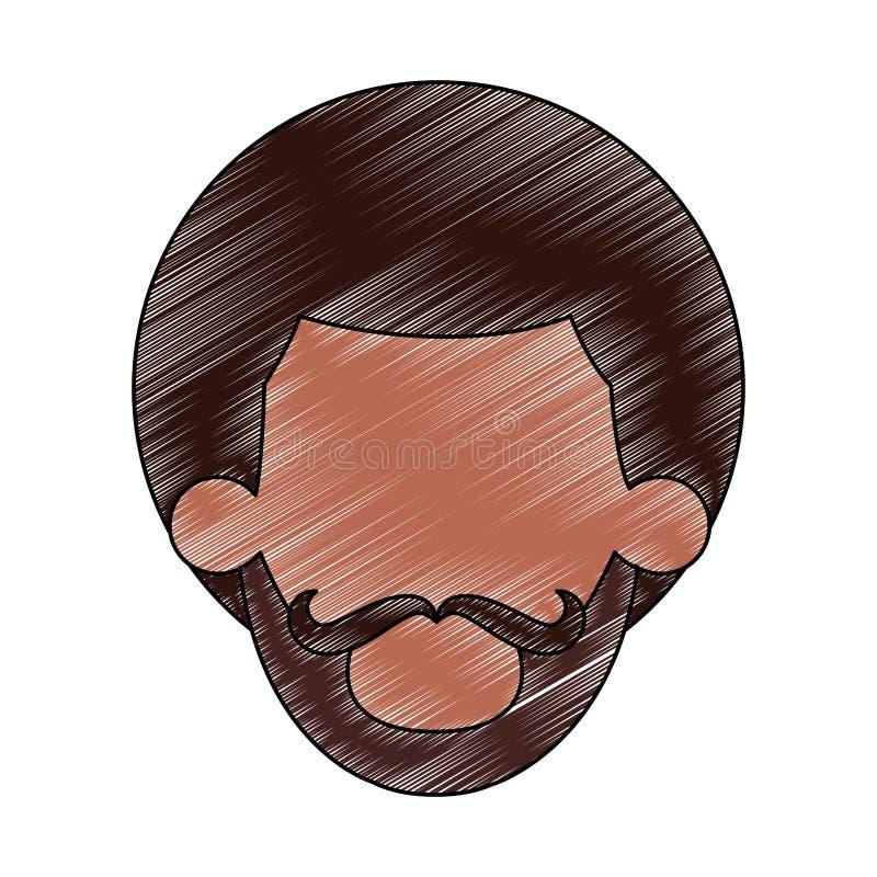 Garrancho principal sem cara do homem do Afro ilustração royalty free