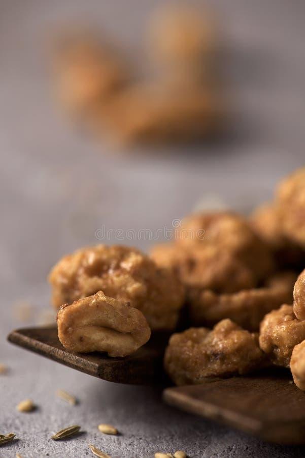 Garrapinados de Cacahuetes, arachides glacées espagnoles images stock