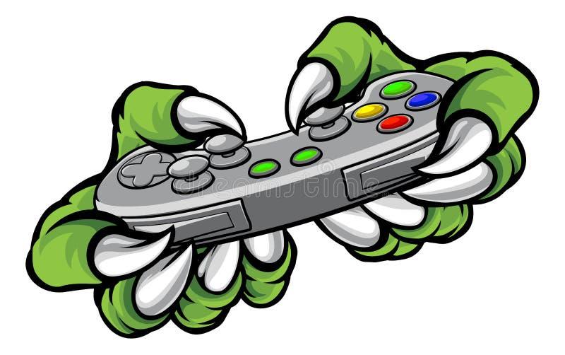 Garras del videojugador del monstruo que sostienen el regulador de los juegos libre illustration