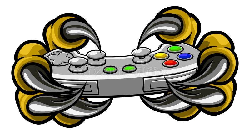 Garras del videojugador del monstruo que sostienen el regulador de los juegos stock de ilustración