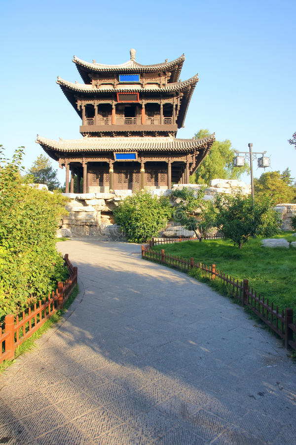 Garret. The antiquated garret of Jinci Park in Taiyuan, Shanxi, China. It name is Fly Dragon Garret royalty free stock image