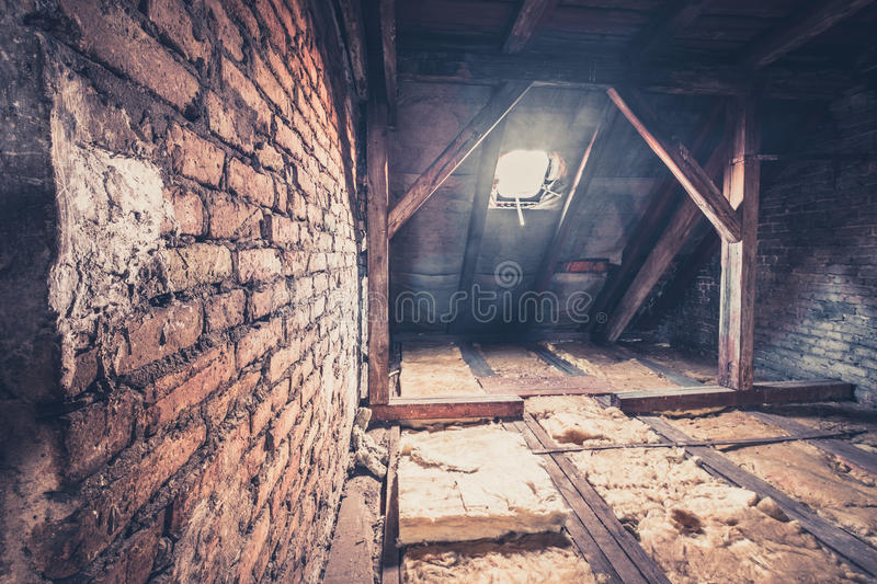 Garret, attic loft / roof construction. Old garret, attic loft / roof construction stock images