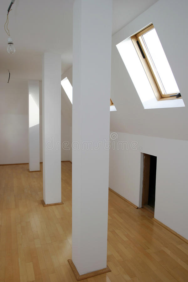 Garret interior. A empty garret interior of a new house royalty free stock images