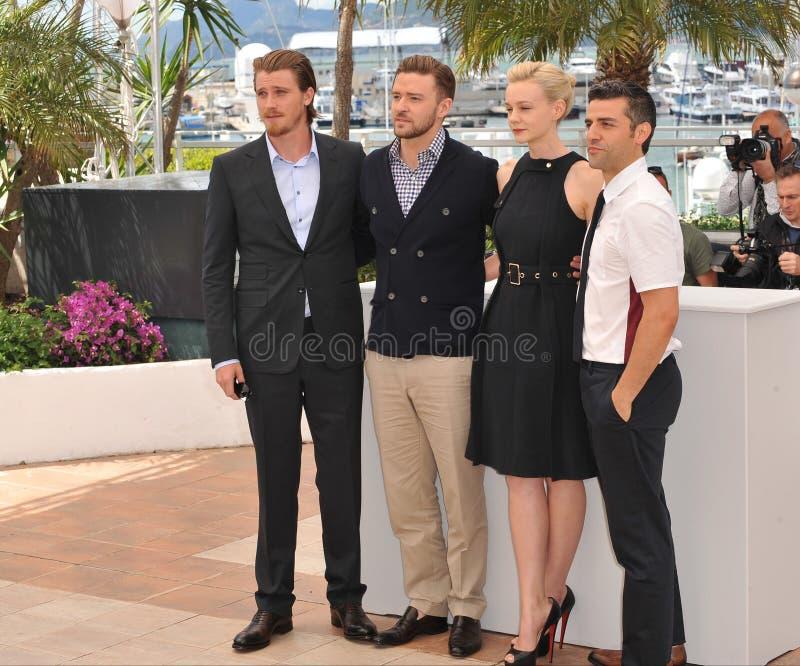 Garrett Hedlund & Justin Timberlake & Carey Mulligan & Oscar Isaac royaltyfri bild