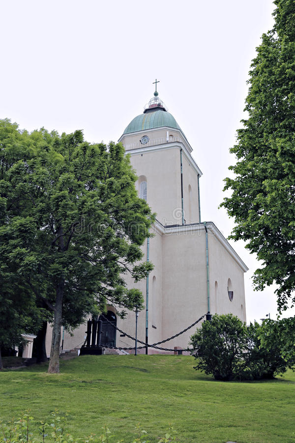 Garrison church in the sea fortress of Suomenlinna stock photo