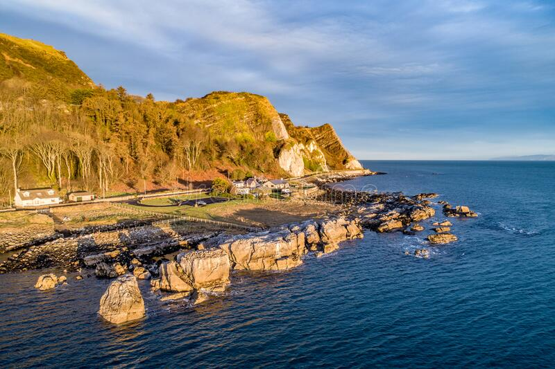 Garron Point at Atlantic coast in Northern Ireland, UK stock photo
