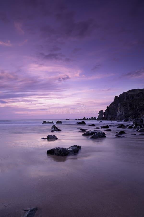 Garry Beach - coucher du soleil image stock