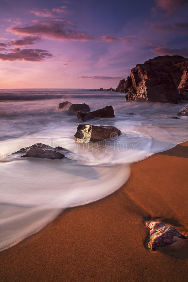 Garry Beach - coucher du soleil photo libre de droits
