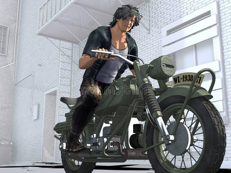 Gars dur comique de style sur une moto de vintage illustration stock