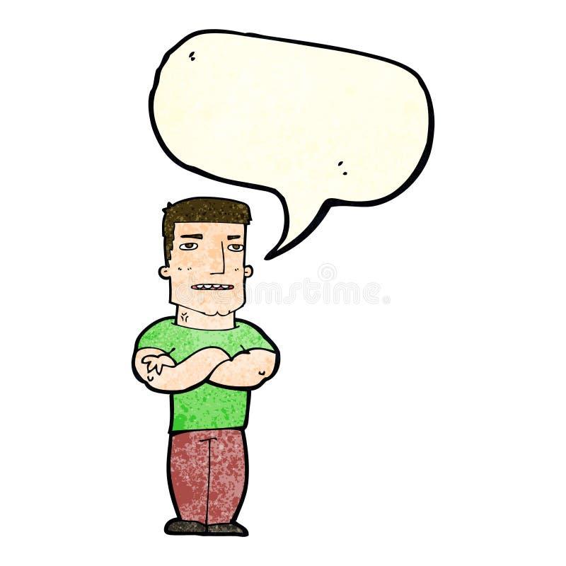 gars dur de bande dessinée avec les bras pliés avec la bulle de la parole illustration libre de droits
