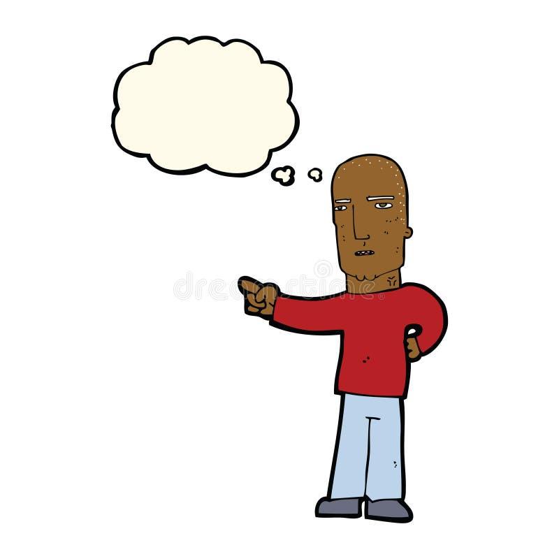 gars dur de bande dessinée se dirigeant avec la bulle de pensée illustration de vecteur