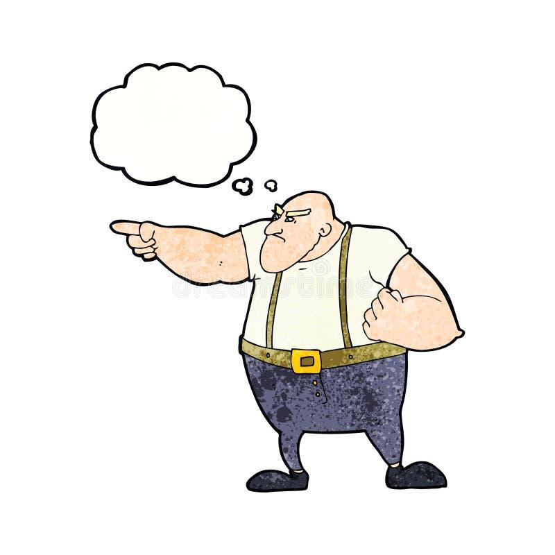 gars dur fâché de bande dessinée se dirigeant avec la bulle de pensée illustration libre de droits