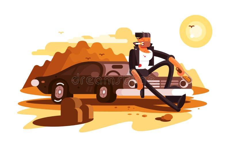 Gars dur frais s'asseyant sur la voiture et le tabagisme illustration de vecteur