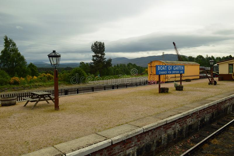 Garten平台Strathspey铁路苏格兰小船  免版税库存图片