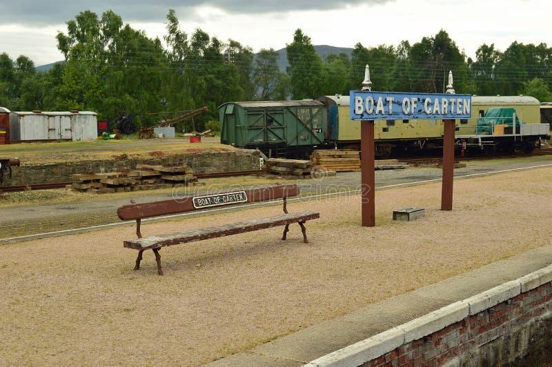 Garten平台Strathspey铁路苏格兰小船  库存图片