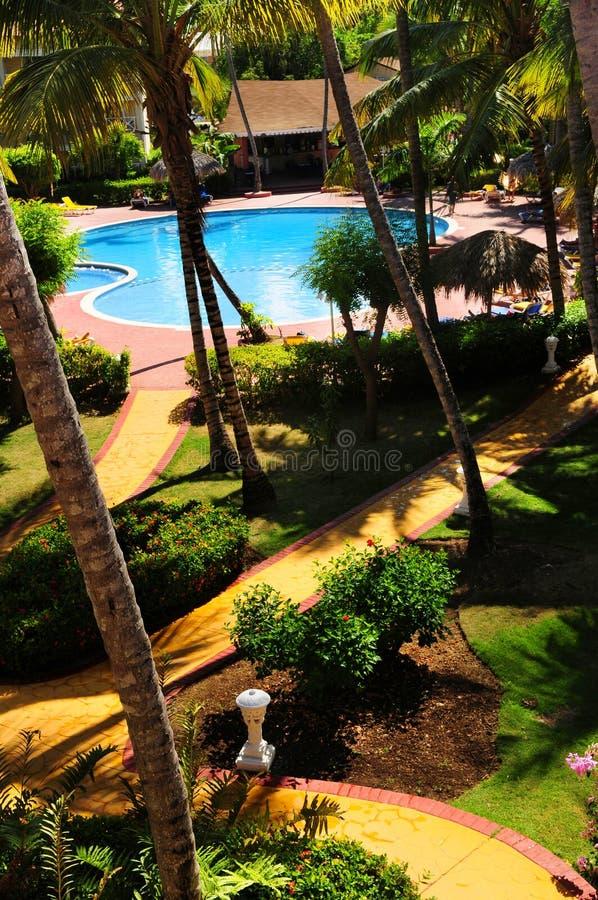 Garten, der an der tropischen Rücksortierung landschaftlich verschönert stockbilder
