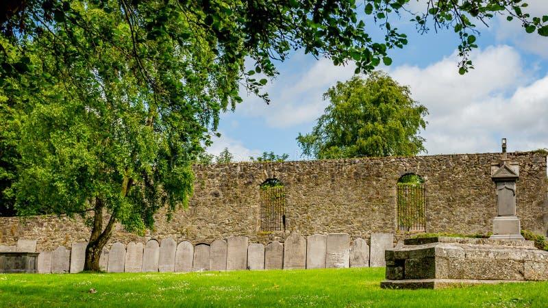 Garten der Friedhofs-Abtei im Dorf von Athlone mit aufwändigen Grundsteinen auf der Wand im Hintergrund lizenzfreie stockfotografie