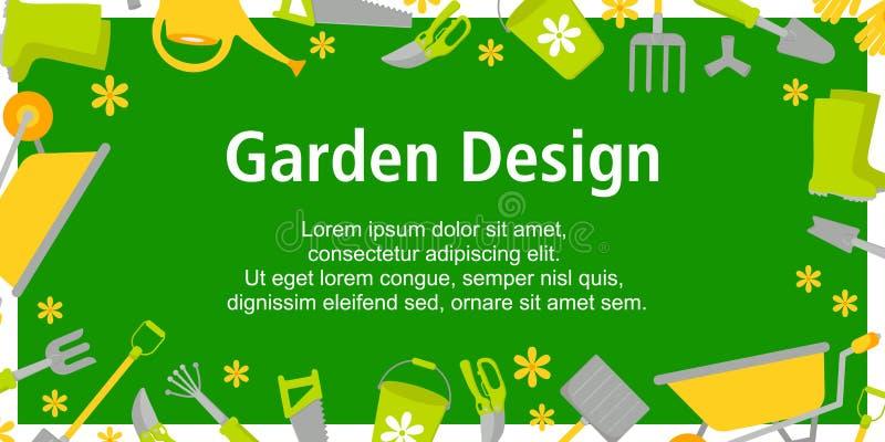 Garten-Entwurfsplakat mit Gartenarbeitwerkzeugen auf gr?nem Hintergrund Hintergrund f?r verschiedene Entw?rfe: Karte, Plakat, Ver vektor abbildung