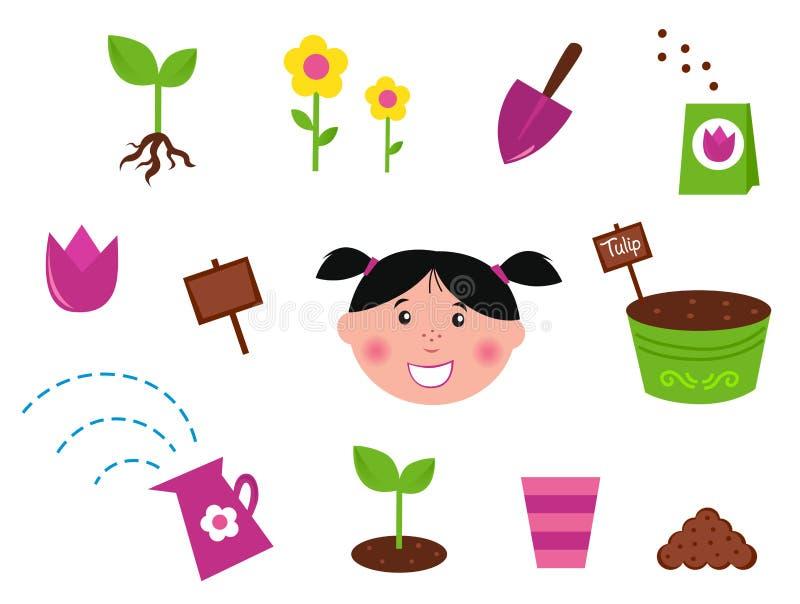 Garten, Frühling u. Naturikonen und -elemente stock abbildung