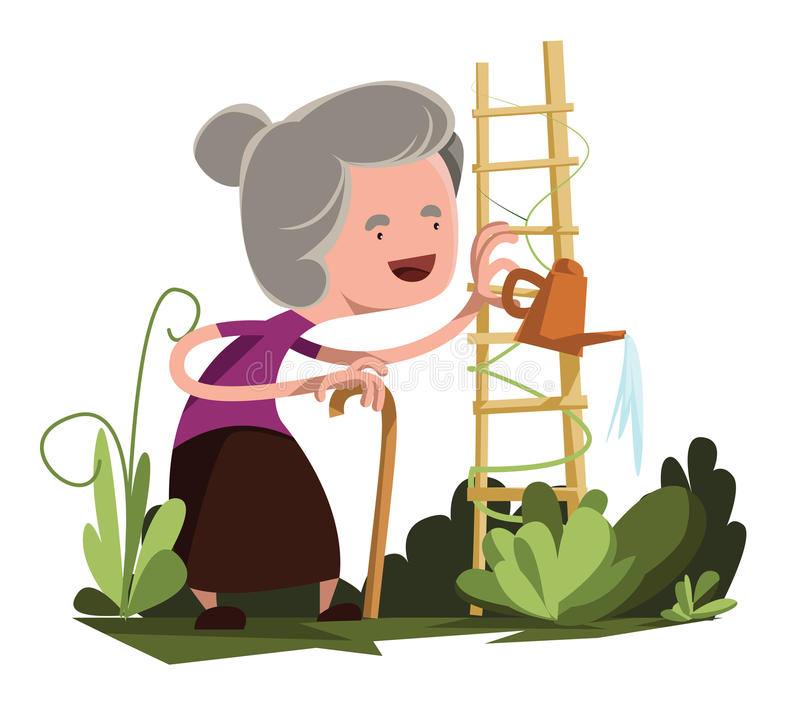 GARTEN-Illustrationszeichentrickfilm-figur der alten Oma Bewässerungs vektor abbildung