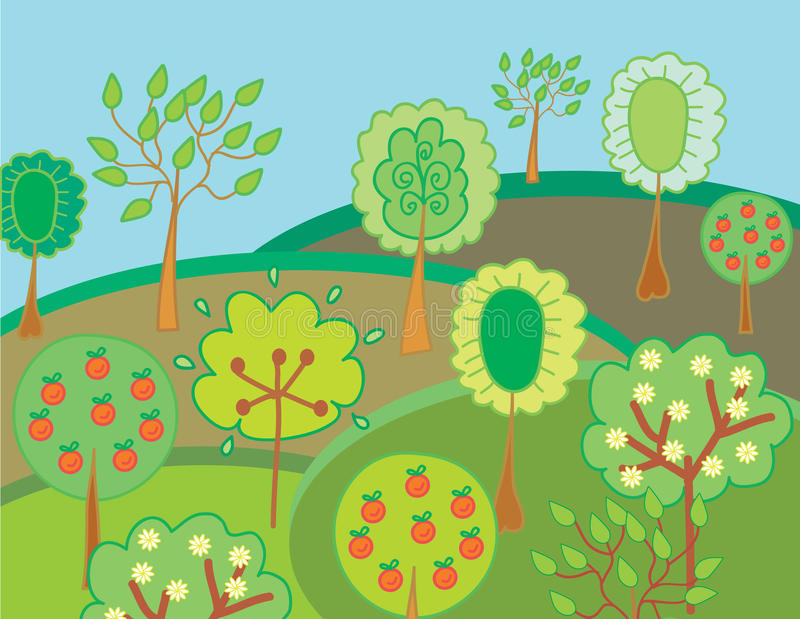 Garten mit Bäumen und Äpfeln stock abbildung