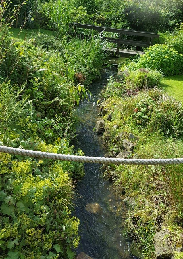 Garten mit einem Fluss lizenzfreies stockfoto