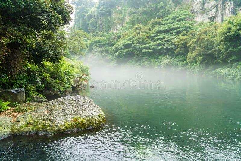 Garten-Park an Cheonjiyeon-Wasserfällen in Jeju-Insel lizenzfreies stockbild