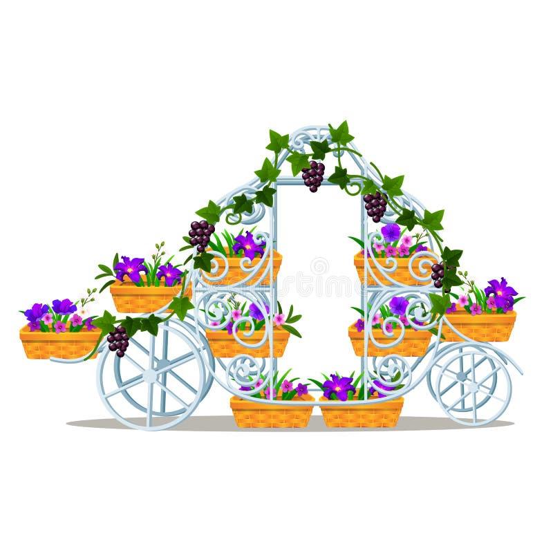 Garten schmiedete Gestell in Form eines Weinlesezuges mit Körben von den Blumen, die auf weißem Hintergrund lokalisiert wurden El lizenzfreie abbildung