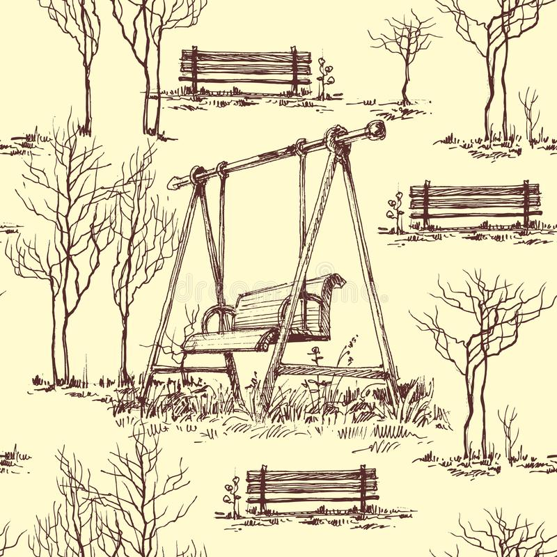 Garten- und Spielplatzmuster vektor abbildung