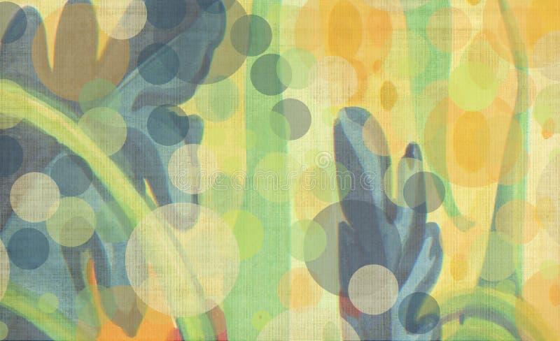 Garten-Wasserfarbe der exotischen tropischen abstrakten nahtlosen mit Blumentapete des Blattes reiche bunte traditionelle lizenzfreie abbildung