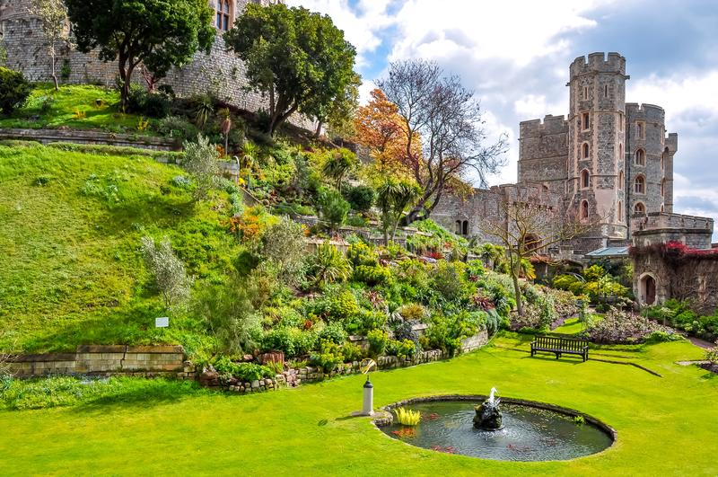 Garten in Windsor Castle, London-Vororte, Großbritannien stockfotografie