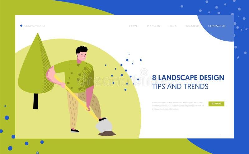 Gartenarbeit, Landungsseiten-Schablone pflanzend Charakter-Gärtner Growing Plants Concept für Webseite oder Website vektor abbildung