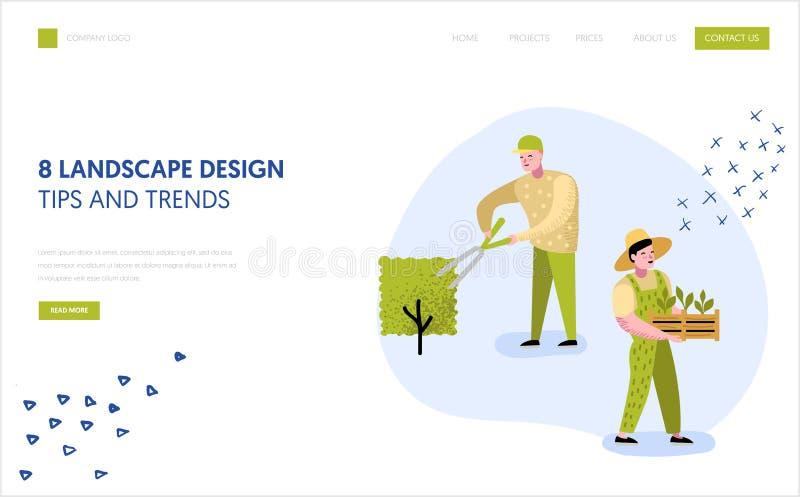 Gartenarbeit, Landungsseiten-Schablone pflanzend Charakter-Gärtner Growing Plants Concept für Webseite oder Website lizenzfreie abbildung