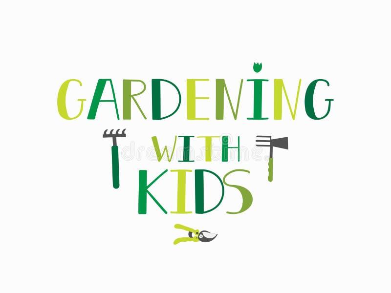Gartenarbeit mit Kindern beschriftung Kalligraphievektorillustration stock abbildung