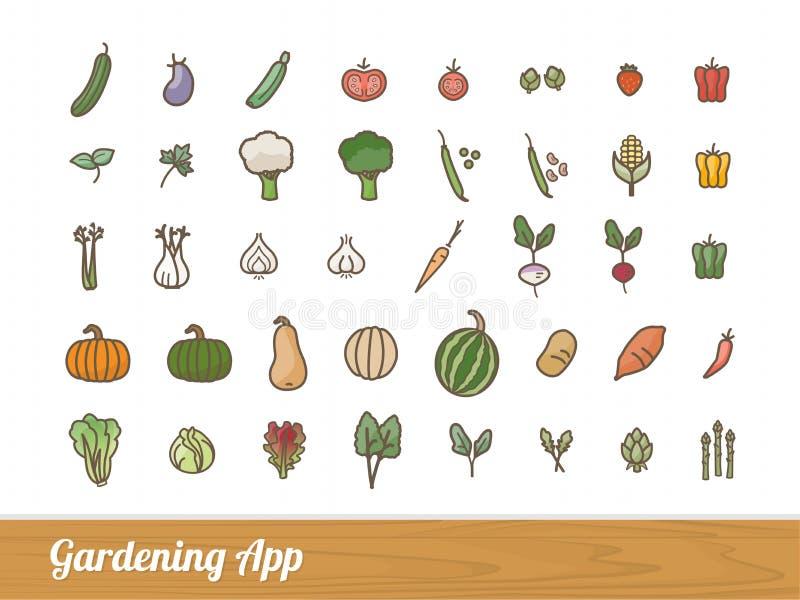Gartenarbeitapp-Ikonen eingestellt vektor abbildung