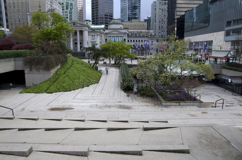 Gartenarbeitdesigne Robson Square Vancouver stockfotos
