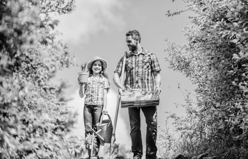 Gartenarbeiten Wei?e Blumen der Kirsche und der roten Tulpen Gartenarbeitchecklistenvater und -tochter des Fr?hlinges mit Schaufe lizenzfreie stockfotografie