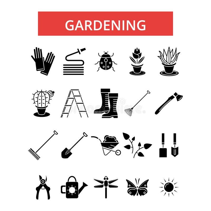 Gartenarbeitillustration, dünne Linie Ikonen, lineare flache Zeichen, Vektorsymbole stock abbildung