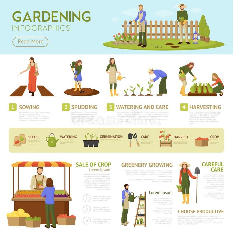 Gartenarbeitinfographics-Schablone stock abbildung