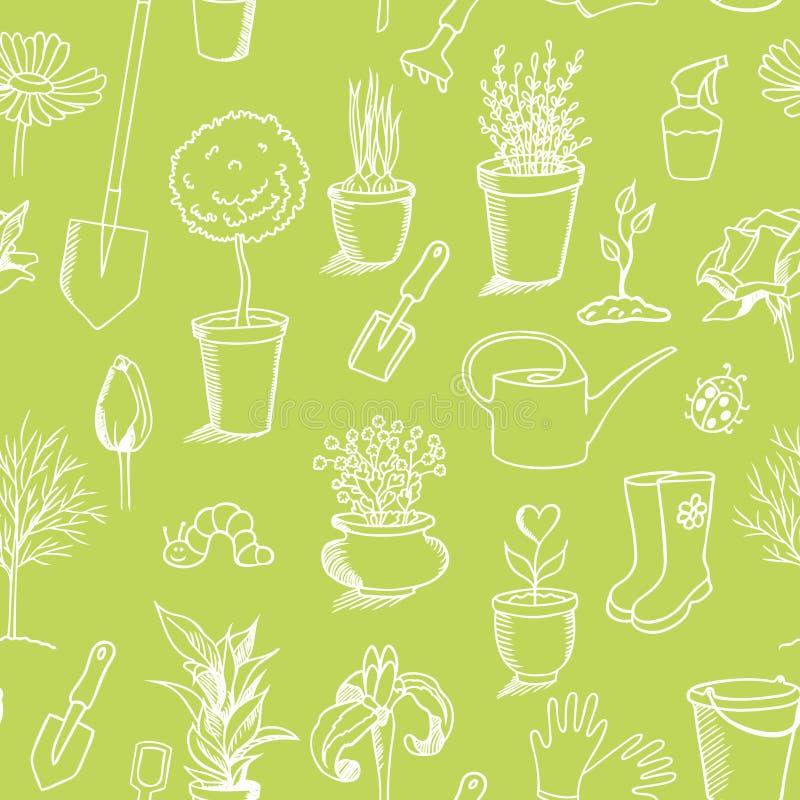 Gartenarbeitnahtloses Muster der skizze, grünen Hintergrund vektor abbildung