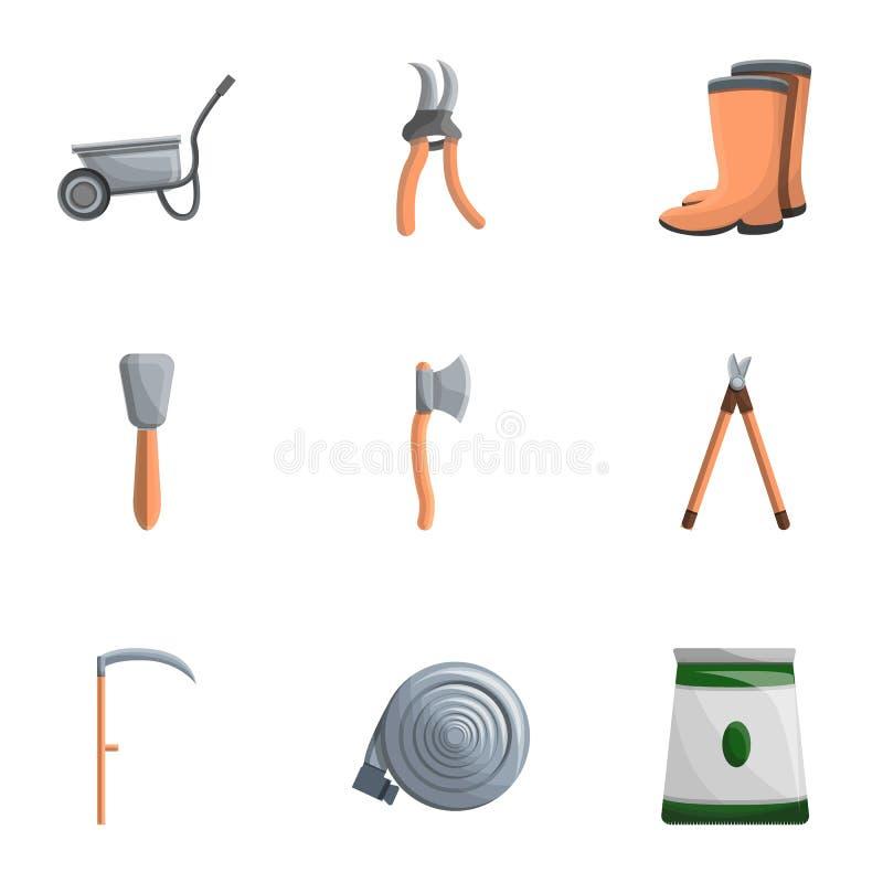 Gartenarbeitswerkzeug-Ikonensatz, Karikaturart lizenzfreie abbildung