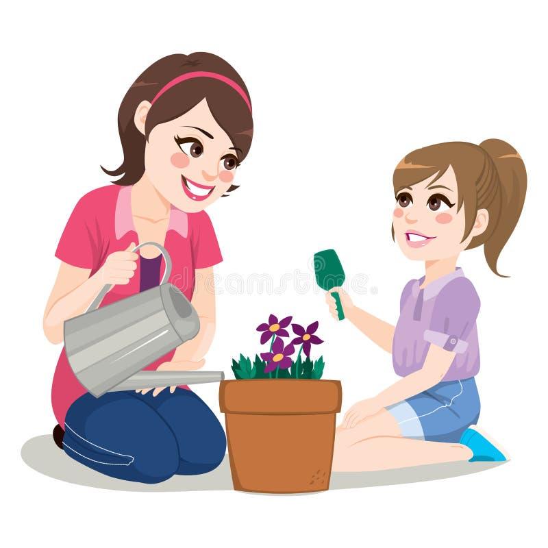 Gartenarbeittochter-Mutter stock abbildung