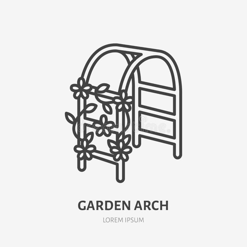 Gartenbogen mit kletternder Betriebsflacher Linie Ikone Hochzeitsblumen-Dekorationszeichen Dünnes lineares Logo für die Gartenarb stock abbildung