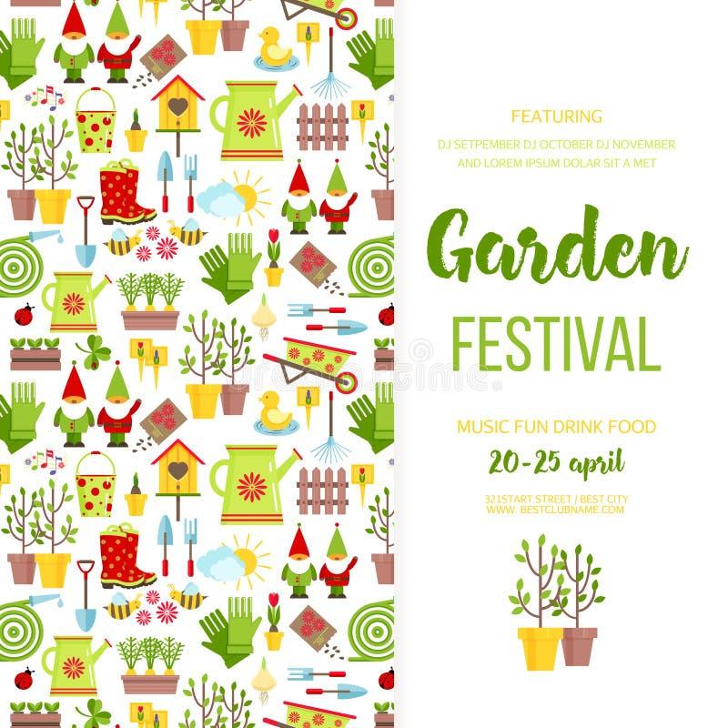 Gartenfestivalfahnenplakat-Schablonendesign Invitationholiday Einladung der Gartensorgfalt-Ikonen Flacher Artvektor der Karikatur lizenzfreie abbildung