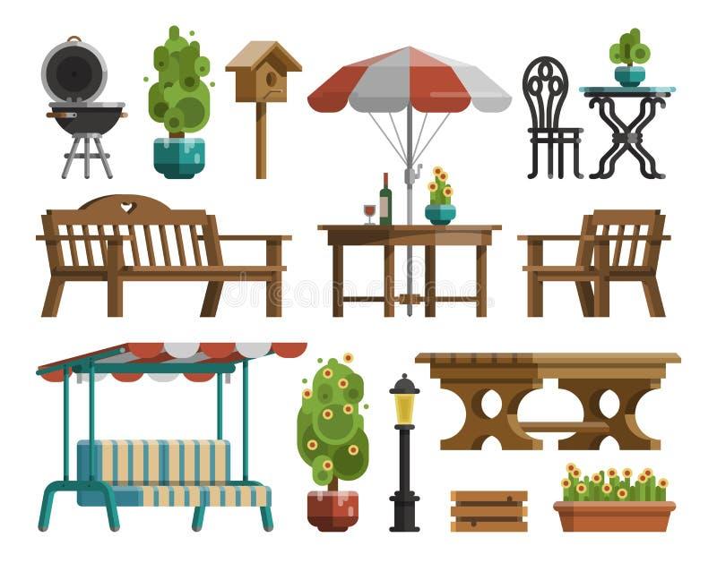 Gartenmöbel, Tabellen, Stühle, dekorative Bäume lizenzfreie abbildung