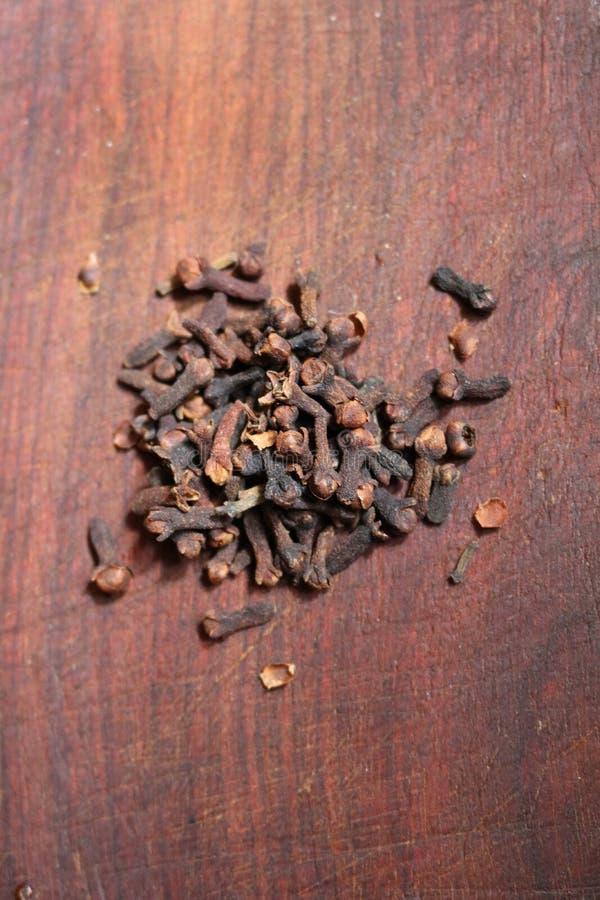 Gartennelke - Gewürz, getrocknete nicht geöffnete Knospen eines Nelkenbaums lizenzfreie stockfotos