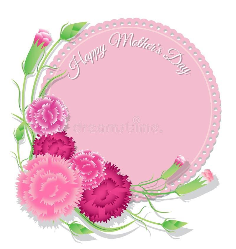 Gartennelke mit rosa Hintergrund für Mutter-Tageskarte lizenzfreie abbildung